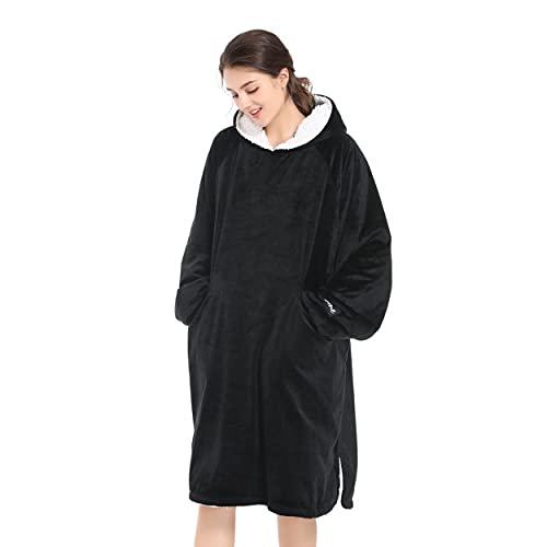 Winthome Übergroße Hoodie Decke, Sherpa Sweatshirt Decke, Kuschelpullover Für Damen Herren Erwachsene (Schwarz, One Size)