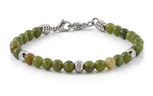 10:10 Bracciale pietre naturali giada da 6 mm, beads in acciaio inox, bracciale molto resistente, prodotto in Italia