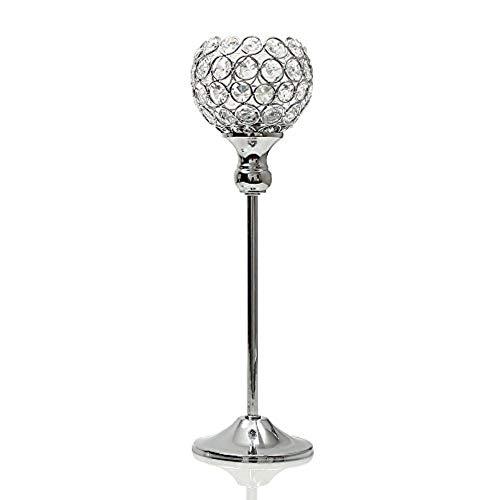 FSHB Metall Kerzenhalter Stehen Kristall Teelicht Kerzenhalter Kaffee Esstisch Mittelstücke Hochzeit Weihnachten Halloween Dekoration, 35cm Silber