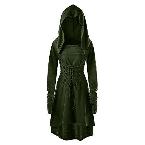 Overdose Frauen Kleid Mantel Kapuzenpullover Kostüme Vintage Tunnelzug Druckknopf Unregelmäßiger Damenmode Sweater Bluse Tops Pullover mit Kapuze Plus Size