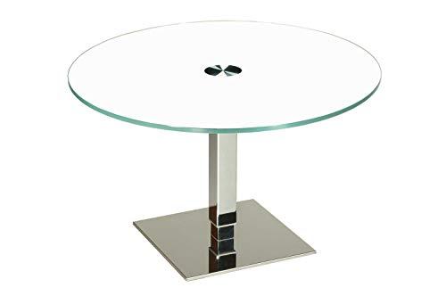 tischdesign24 Taipei27 Couchtisch mit Lift-Höhenverstellung 46-75cm. OptiWhite RAL9003 Weiß Glas. Größe: 75cm rund