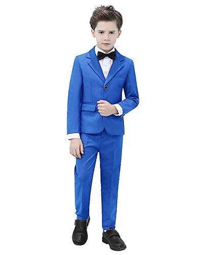 Kids Suits for Boys Tuxedo 4 Piece Suit Set Slim Fit Dresswear Blazer Pants Royal Blue Suit Set Size 3T