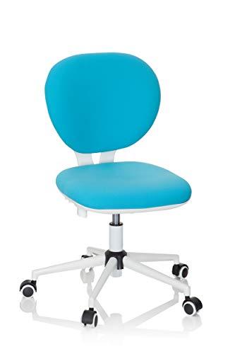 hjh OFFICE 670969 Kinder- und Jungenddrehstuhl Kid VIVO Stoff Türkis/Weiß Kinderbürostuhl mit höhenverstellbarer Rückenlehne