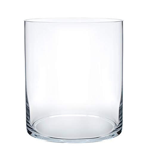 Flower Glass Vase Decorative Centerpiece for Home or Wedding by Royal Imports – Cylinder Shape, 8″ Tall, 6″ Opening, Clear