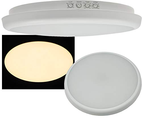 ChiliTec Led-plafondlamp met HF-bewegingsmelder, IP54, 16 watt, aanwezigheidssensor, 8 m bereik, voor kantoor, hal of hotel, warmwit