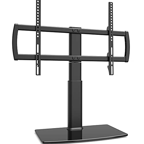 Universal Swivel TV Stand/Base Table Top TV Stand 32 to 65 inch TVs 80 Degree Swivel, 4 Level Height Adjustable, Heavy Duty Tempered Glass Base, Holds up to 88lbs Screens, HT04B-002U