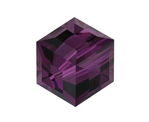 6pcs Swarovski 6mm #5601 Cube Amethyst Crystal beads for Jewelry Craft Making (February Birthstone) SWAC611