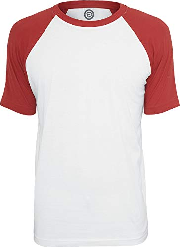 RED by EMP T-Shirt Raglan Contrast Homme T-Shirt Manches Courtes Blanc/Rouge 5XL