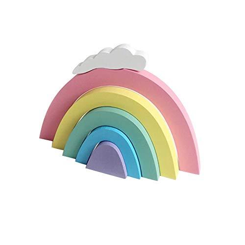 Maliyaw Apilador de Arco Iris de Madera Bloques de apilamiento de Arco Iris Juego de Juguete de Aprendizaje para niños bebés, Bloques de construcción de geometría Juguetes educativos
