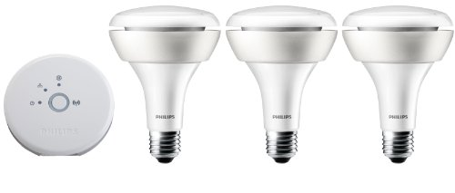 Philips Hue White and Color Ambiance BR30 Starter Kit (Older Model, 3 BR30 Bulbs and Bridge, Compatible with Amazon Alexa, Apple HomeKit and Google Assistant)