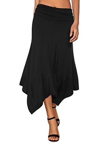 DJT Women's Flowy Handkerchief Hemline Midi Skirt XX-Large Black