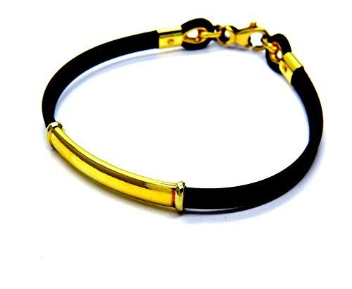 Bracciale da uomo in oro e Gomma Nero con Inserto e Chiusura Oro Giallo 18kt (750) Sportivo Uomo