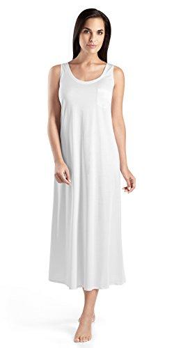 Hanro Damen o.Arm 130 cm Cotton Deluxe Nachthemd, Weiß (white 0101), 50 (Herstellergröße: XL)