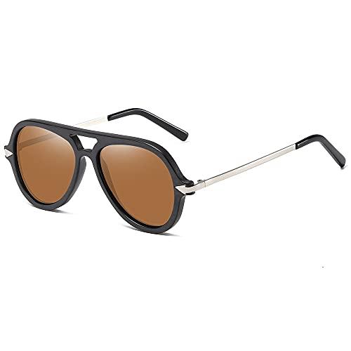 NIUBKLAS Gafas de sol conmontura demadera negra VintageBamboo Galsses para hombres Protección UV polarizada Gafas de sol de madera hechas a mano Marrón