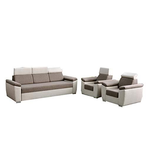 mb-moebel Polstergarnitur Sofa Set 3er & 1er Wohnlandschaft 3-Sitzer und Zwei Sessel Möbel Set - Monza (Braun)