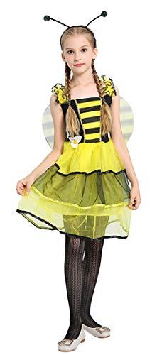 GEMVIE Disfraz Abejita Vestido Tutu Halloween Niñas Chicas Falda sin Manga Party Carnaval Cosplay Amarillo Large