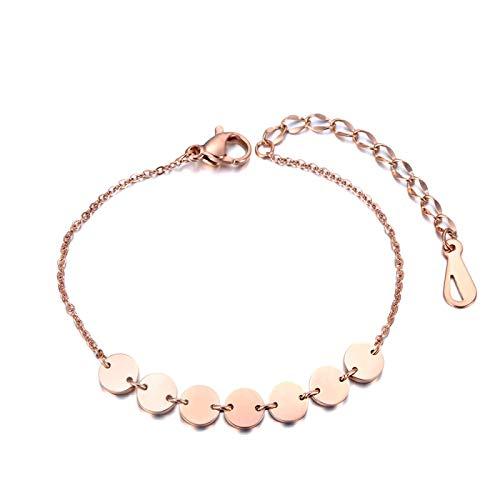 HMANE Pulsera con Dije de oblea geométrica de Oro Rosa para Mujer, Cadena de eslabones de Acero Inoxidable, joyería de Playa de Verano Bohemia