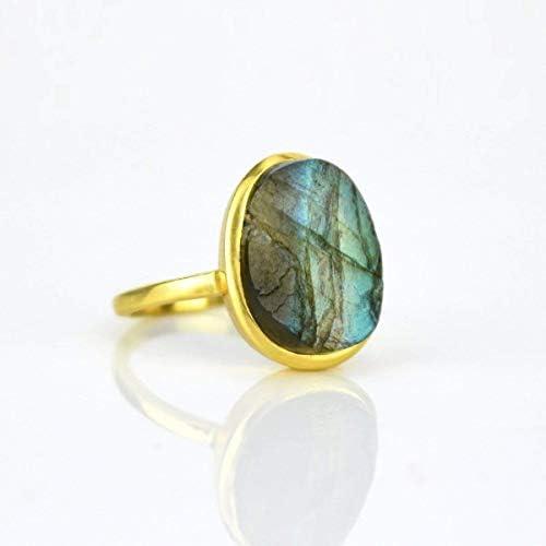 Rough Labradorite ring Labradorite gold ring bezel set ring statement ring Birthstone ring statement product image