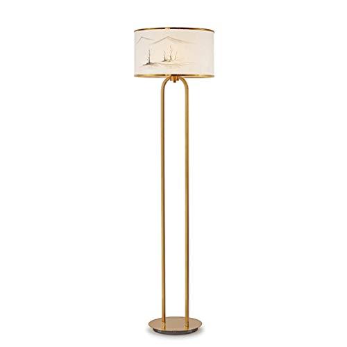 Lámpara de pie Lámpara de pie de Papel de arroz Chino Paisaje diseñador de la Pintura de Acero Inoxidable Sala de lámpara del salón Dormitorio estudian la luz Baja Salon (Color : A)
