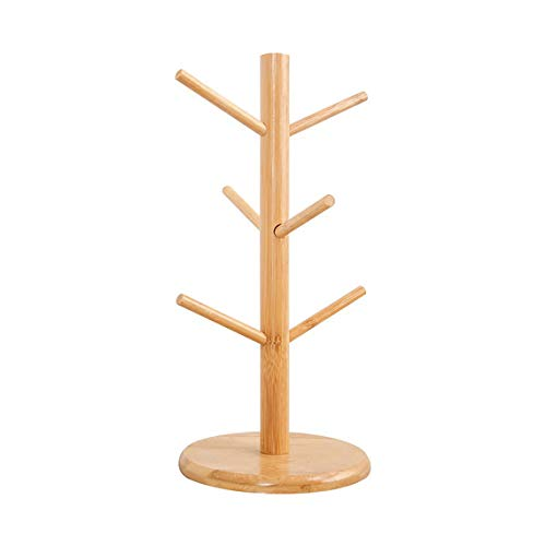 Bamboo Wooden Mug Rack Tree Coffee Tea Cup Organizer Hanger Holder with 6 Hooks Removable Bamboo Mug Stand by AHYUAN