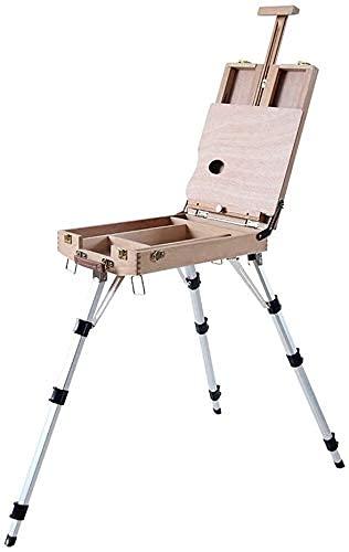 Caballete para artistas, herramienta de pintura, soporte de pintura de madera, caja de imágenes portátil, estudio, caballete de escritorio multifunción, soporte de aleación de aluminio FENGNV210412