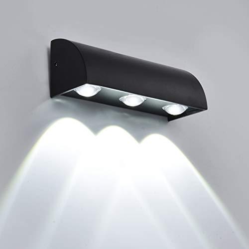 Lightsjoy Aplique de pared para exterior redonda aluminio IP65 a prueba de agua lámpara de iluminación para Exterior
