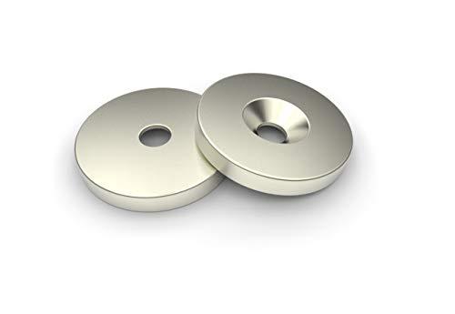 Metallscheiben Ø23 mit Loch und konischer Senkung Zink Gegenplatte Haftplatte für Flachgreifer Haftfläche Gegenplatte kein Neodym kein Ferrit Magnet Set a 10 Stück