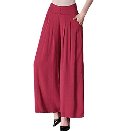Pantalones de mujer de verano de moda delgada pierna ancha pantalones de gran tamaño suelto cintura alta casual falda pantalones pantalones de danza, Mujer, Vino tinto, 3XL