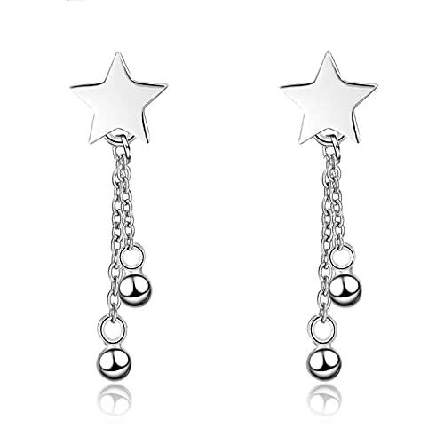 Orejeras para Mujer Diseño de nicho Simple Pendientes de Borla de Cadena de Estrella para Mujer Pendiente de niña Regalo Joyería de Hadas