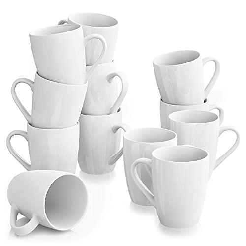 MALACASA, Serie Elisa, 12 teilig Becher Set Porzellan Kaffeebecher Kaffeetasse