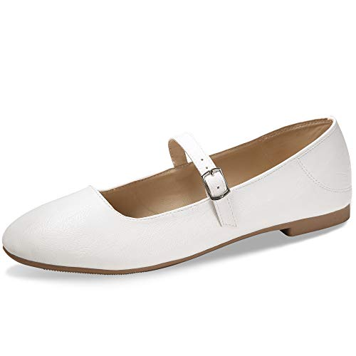 CINAK Flats Mary Jane Shoes Womens Casual Comfortable Walking Classic Buckle Ankle Strap Style Ballet Slip On White 11 US