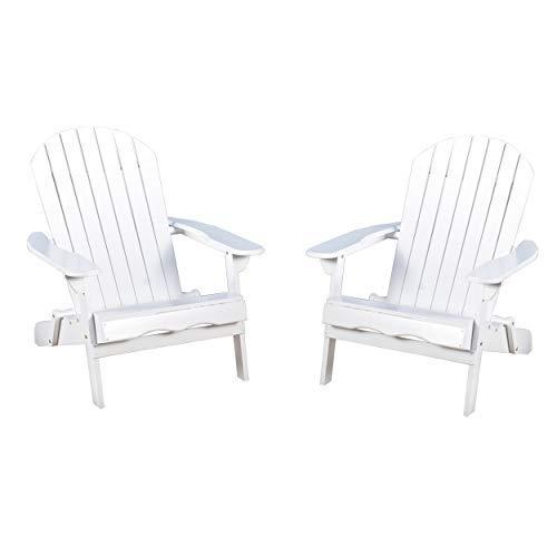 Christopher Knight Home Hanlee Folding Wood Adirondack Chairs, 2-Pcs Set, White