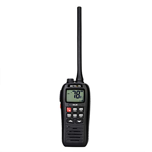 Retevis RA26 Marine Walkie Talkie, IP67 Impermeable Flotante, 88 Canales VHF, Escaneo de Monitor, Dual/Tri-Watch, Carga USB, Adecuado para Radio Internacional, Marina 2 Way Radio (1 Pieza)