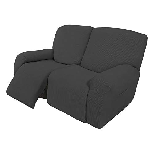 Easy-Going 6 Pieces Recliner Loveseat Stretch Sofa Slipcover Sofa Cover Furniture Protector Couch Soft with Elastic Bottom Kids, Spandex Jacquard Fabric Small Checks Dark Gray