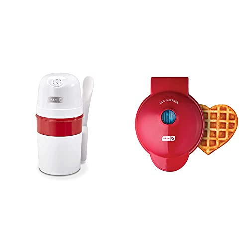 Dash My Pint Electric Ice Cream Maker Machine for Gelato, Sorbet + Frozen Yogurt with Mixing Spoon & Recipe Book 0.4qt-White & Mini Waffle Maker Machine for Individuals, Hash Browns 4 Inch, Red Heart