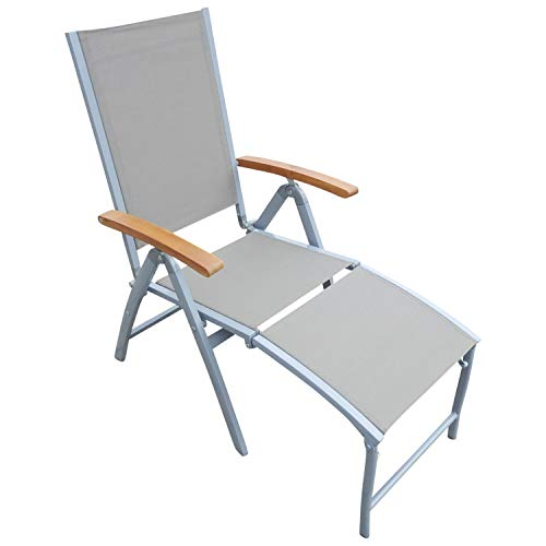 Relaxsessel Hochlehner Naxos mit klappbarem Fussteil, Aluminium hellgrau + Textilgewebe grau, Armlehnen Akazienholz, klappbar