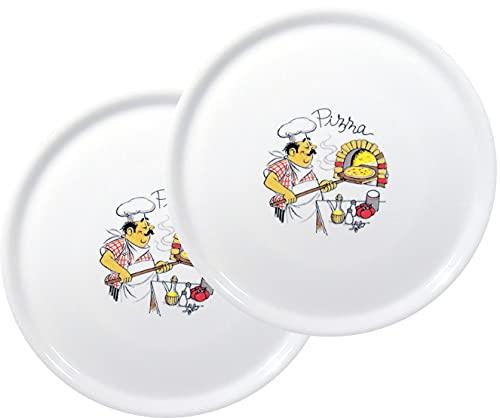 Topkapi Serie Pizza Gusto 351.001 - Juego de platos para pizza (2 unidades, 31,5 cm de diámetro, cerámica)