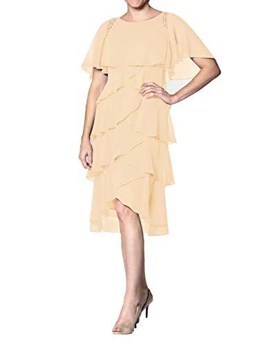 Abendkleid Kurz A-Linie Cocktailkleid Ballkleid Chiffon Übergröße Brautmutterkleider Festkleider mit Ärmel Pfirsich 40