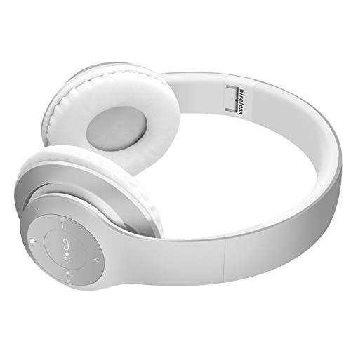 Wsaman Auriculares Estéreo, Auriculares inalámbricos Bluetooth con Micrófono Hi-Fi Deep Bass, para Deportes Oficina en Casa Trabajo, Tablets Auriculares Cómodos Plegables,Blanco
