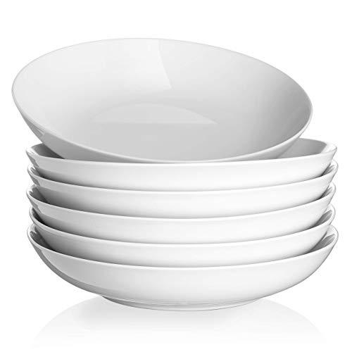 Y YHY Pasta Bowl Set of 6, 40 Ounces Large Bowls for Soup, Wide Salad Bowls, Porcelain Shallow Bowls, Microwave & Dishwasher Safe, White