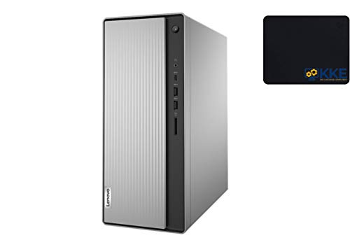 2020 Newest Lenovo IdeaCentre 5 AMD Desktop Tower, AMD Ryzen 7 4700G, 16GB RAM, 256GB PCIe SSD + 1TB HDD, Wi-Fi, HDMI, VGA, DVD, WIN10 Home, KKE Bundle, Silver