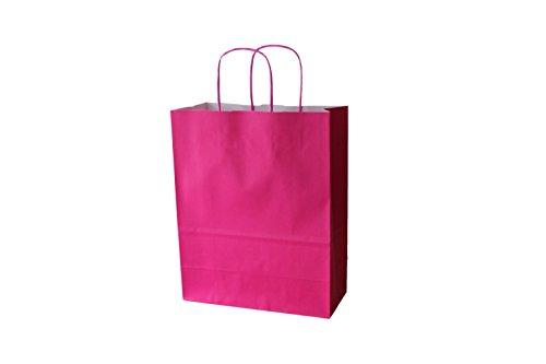Bolsas de papel de colores con cordón rosa Fuxia – Varios tamaños y cantidades (36 + 13 x 41 cm, 50 unidades)