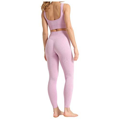 Damen Yoga Trainingsanzüge Sport Shirt Langarm Trainingshose Set Yoga Hosen Leggings Tights Shape Stretch Sporthose für Workout Gym Joggen Trainings Fitness Laufen Hosen riou Günstig (B-Rosa, S)