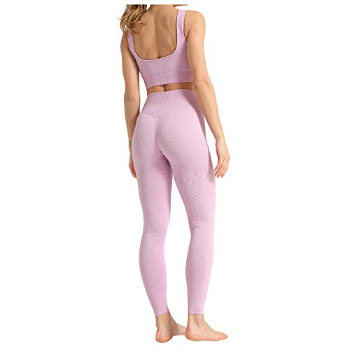 Longra Damen Sport Bekleidung Yoga Set Sommer 2 Teile Sportanzug Leggings Sets Trainingsanzug Sportswear Jogginghose