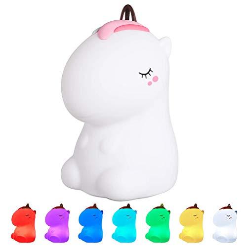 Bonbela Lámpara de noche de silicona con carga por USB, diseño de unicornio, lámpara de noche para niños