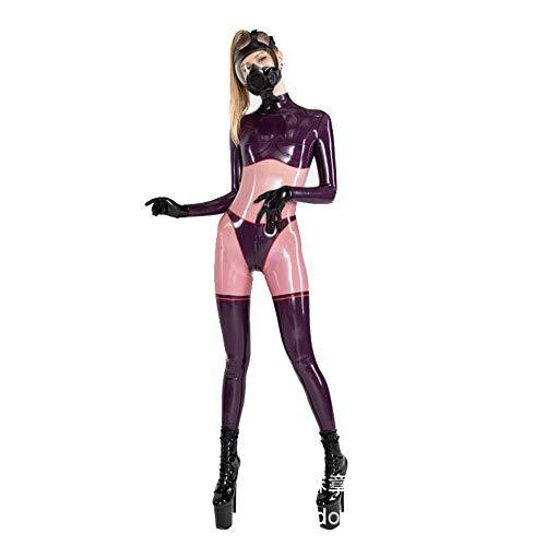 Artool Wetlook Leggings Stretch Latex-Overall-Hosen-Frauen Shiny Synthetic Schlank Glatte Zip Erotic Catsuit,L