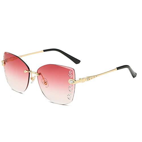 QINGZHOU Gafas de Sol,Gafas de sol para mujer, sin montura, con borde cortado, gradiente de dos tonos, de alta definición, tallado, gafas de sol de moda, gradualmente morado