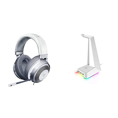 Razer Kraken Gaming Headset, Mercury White & Base Station Chroma Headphone/Headset Stand w/USB Hub: Chroma RGB Lighting - 3X USB 3.0 Ports - Mercury White