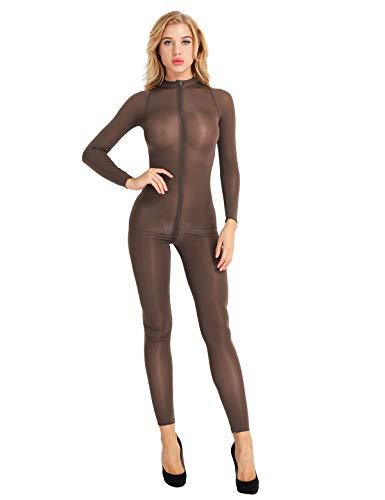 Agoky Damen Eleganter Overall Jumpsuit lang Schlank Einteiler Langarm Body Halb-transparent Unterwäsche mit Reisverschluss Ganzkörper Hose Party Clubwear Coffee L