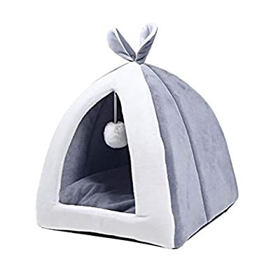 Hefine Winter Warm Pet Cat Dog Bed,Cute Rabbit Ear Fleece Soft Cozy Foldable Cat Litter Tent Dog House Kennel Puppy Sofa Cushion Nest Cave for Small Medium Large Pet,Washable (S, Gray) from lilingfine